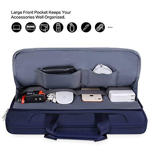 MOSISO Laptop Hülle Tasche Kompatibel mit MacBook Pro 16 Zoll, 15 15,4 15,6 Zoll Dell Lenovo HP Asus Acer Samsung Chromebook,360 Schutz Wasserabweisende Schultertasche mit Trolley Gürtel, Navy Blau