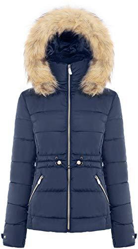 BodiLove - Chaqueta de invierno acolchada para mujer con capucha de piel sintética extraíble y cremallera, Junior Navy5, compra 1...