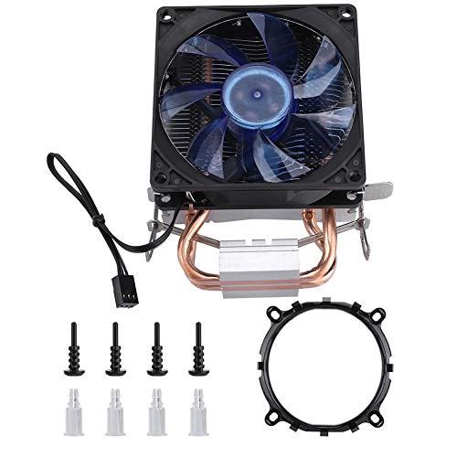 Radiador de CPU, radiador de computadora Blue Cold Storm CT-2U 3Pin 2100 RPM Soporte de radiador de refrigeración de CPU de doble tubo de cobre AMD / 1150/1151/1155/1156/775(Estándar)