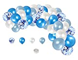 Arco de globos, juego de guirnaldas, 41 unidades, azul y blanco, confeti, decoración para fiestas, manualidades, globos de látex