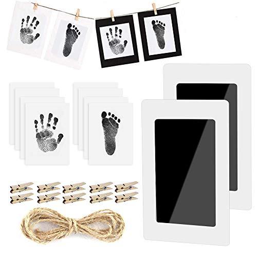 Baby Fußabdruck und Handabdruck, 2 pcs Baby Fussabdruck Set, LATTCURE Baby Handprint mit Papier-Fotorahmen Babyhaut kommt nicht mit Farbe in Berührung für Neugeborene 0-6 Monate (Schwarz)