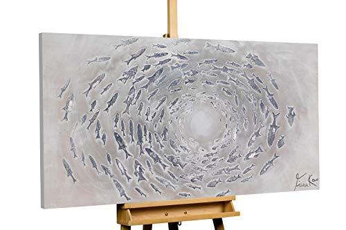 Kunstloft® Cuadro en acrílico Cerrando la Brecha 140x70cm | Original Pintura XXL Pintado a Mano sobre Lienzo | Abstracto círculo Gris | Cuadro acrílico de Arte Moderno con Marco