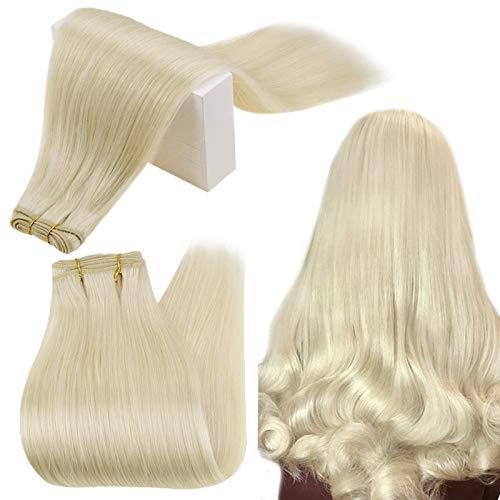 RUNATURE Tissage Faisceaux de Cheveux Raides Cheveux Naturel 20 Pouces 50cm Bundles de Trame Couleur 60 Blond Platine 100g Cheveux Raides Extensions de Cheveux