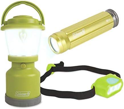 Coleman Kids Adventure Light Set for Kids Green Set of 3 Includes LED Lantern Headlamp Flashlight product image