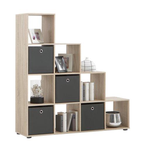 FMD furniture Treppenregal Raumteiler Bücherregal Raumtrenner 10 Fächer, in Eiche 38,5 x 141,5 x 32,6 cm (BxHxT)