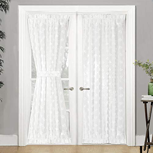 DriftAway Olivia Voile Chiffon Sheer Door Curtain French Door Panel Patio Sliding Window Single Rod Pocket Curtain with Matching Tieback 52 Inch by 72 Inch Plus 1.5 Inch Header Off White