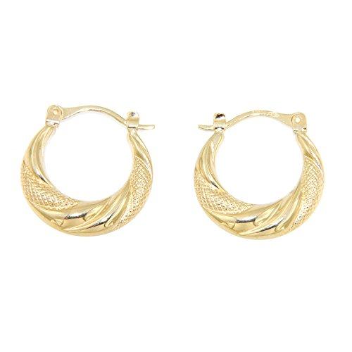 Lucchetta Gioielli d'Oro per Donna - Orecchini Creole forma Cerchio in Oro giallo 9 carati - effetto Diamantato - Made in Italy Certificato, XA2295