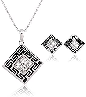 Rhombic shaped Patterned Crystal rhinestone women fashion necklace earring set
