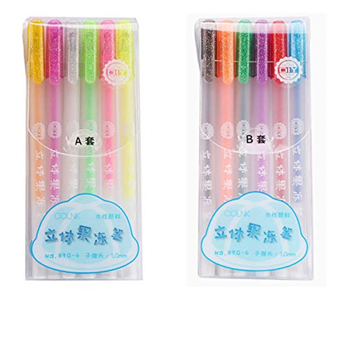 6/12 pcs Popular 3D Jelly Pen set, Candy Color Gel Pen 1.0mm,Colored Ink Art Painting Writing Pens DIY Drawing Graffiti Art Supplies A&B