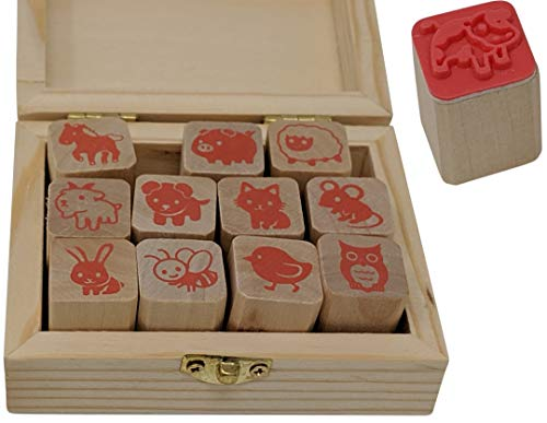 Stampmojis Animal Stamps - Wooden Rubber Animal Stamp Set - Fun Animal Lover Gifts for Kids  Christmas Stocking Stuffers for Kids  Educational Toys  Art Set  Craft Kit  Teacher Stamps