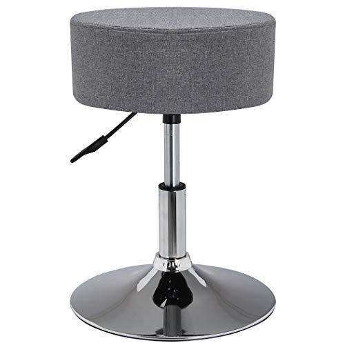 Duhome Drehhocker Sitzhocker Grau Hocker RUND höhenverstellbar drehbar aus Stoff Leinen Farbauswahl 428S