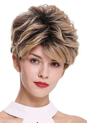 WIG ME UP - DW-2700 Damenperücke Perücke kurz toupiert voluminös wellig schwarze Wurzeln Ansätze und Blond Mix