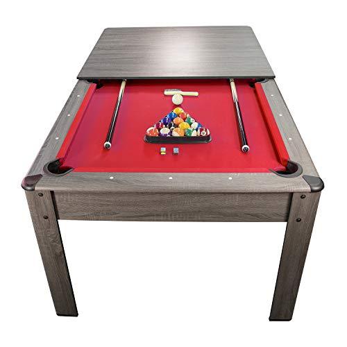 PLAY4FUN Billar americano Harmony 6Ft – 206,5 x 116,5 x 80 cm con accesorios y bandeja de cena, color gris y alfombra roja