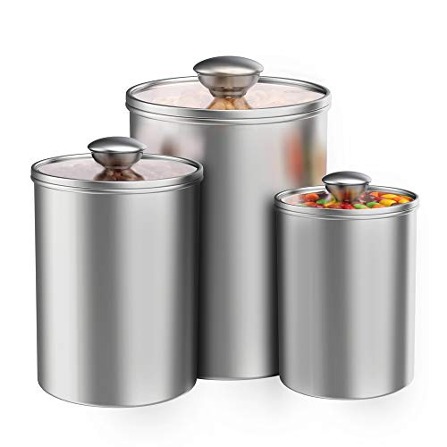 Airtight Canisters Sets for the Kitchen Counter, 3-Piece ENLOY Stainless Steel Food Storage Container with Clear Glass Lids for Coffee Tea Nuts Sugar Flour