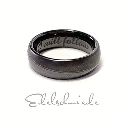 I will follow - edler Keramik Ring teilweise matt halbrund schwarz 6 mm #52