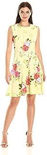 فستان نسائي من Sandra Darren من قطعة واحدة من الكتف ممتدة مطبوع عليه أزهار مقاس مناسب وواسع