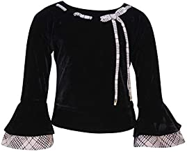 Cutecumber Girls Chenille Embellished Black Top.4272A-BEIGE