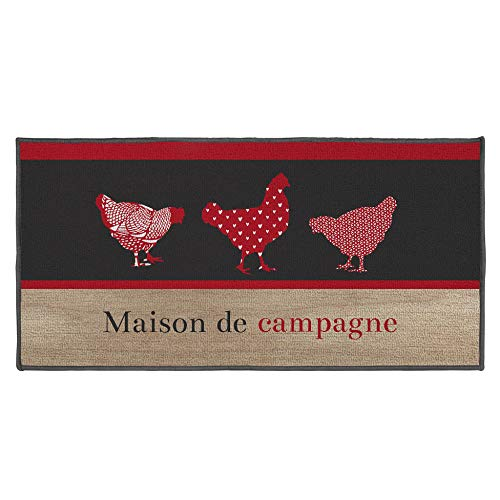 douceur d'interieur Maison DE Campagne Tapis Deco Rectangle, Multicolore, 57 x 115 CM