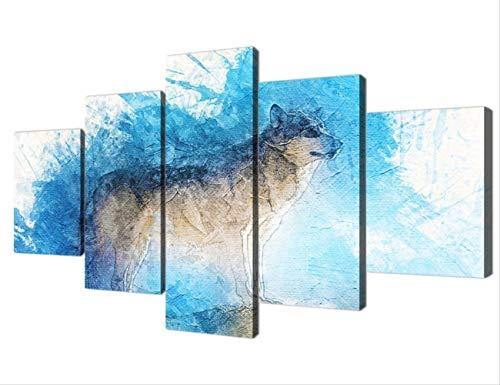 NOBRAND Decoración Casera Moderna Cartel De Arte De Pared Pintura De Impresión En HD 5 Paneles Bosque Animal Snow Wolf Modular Canvas Art Picture 20X35 20X45 20X55Cm Sin Marco