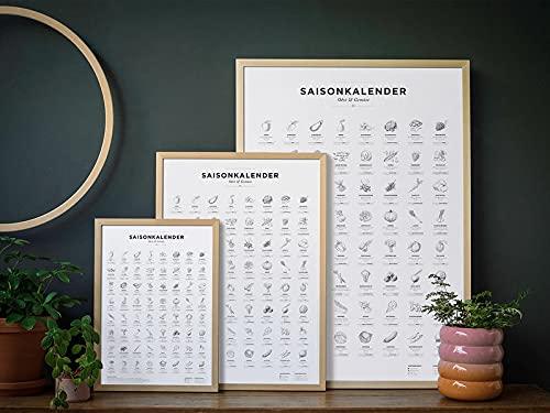 Saisonkalender Obst & Gemüse, Dekoration Küche, o. Rahmen: Wandkalender für jedes Jahr. Poster in SW und A2