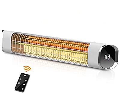 Electric Outdoor Wall-Mounted Infrared Patio Heater with LED Display and Remote Control, 24 Timer Auto Shut Off, 2 Power Levels Indoor/Outdoor Heater for Room, Garage ,Courtyard