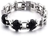 JQDMBH Herren Armband Edelstahl,Armbänder für Männer Personalisiertes Titan-Stahl-Fahrrad-Schädel-Armband-Retro-Trend-Fahrrad-Herrenkette problemlos mit jedem (Color : Silver, Size : 23x2.2cm)