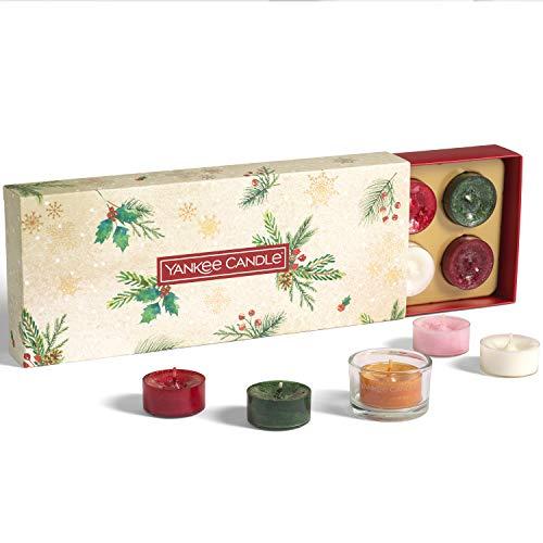 Yankee Candle confezione regalo   Candele profumate natalizie   10 candele tea light e 1 porta candela tea light   Collezione Magical Christmas Morning