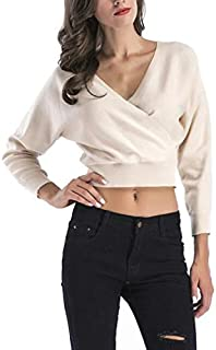 Shirts & Long Sleeves Short Bat Sleeve Deep V-Neck Loose Sweater for Women, Size: XL(Black) Shirts & Long Sleeves (Color : Beige, Size : L)