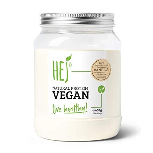 HEJ NATURAL PROTEIN VEGAN   Vanilla - 450g   Veganes Proteinpulver   Eiweiß zum Muskelaufbau   Gluten- & Laktosefrei