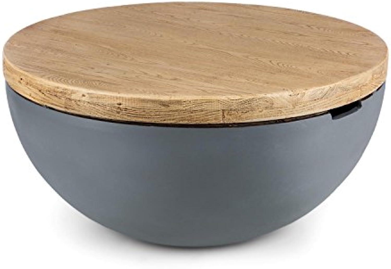 Blaumfeldt Blockhouse Lounge  Gartentisch aus MgO-Zement  Beistelltisch  Rustikaler Tisch  Beton-Optik  Mediterranes Design  Handgriffe zum Tragen  24 kg  rund 80 x 40 cm ( x H)