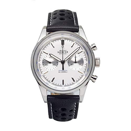 Mercer Lexington Automatico Meccanico Cronografo Sea-Gull Acciaio Argento Bianco Pelle Orologio Uomo