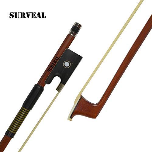 SURVEAL Arco de violín de madera de Brasil profesional con la mejor cola de caballo de Mongolia y la mejor elasticidad para principiantes