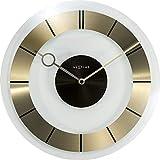 NeXtime Retro Orologio da parete al quarzo in vetro trasparente e il cerchio in acciaio inossidabile, Oro, Ø 31 cm