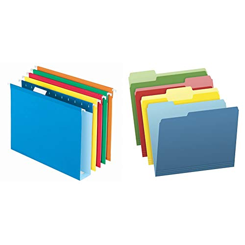 Pendaflex Extra Capacity Hanging File Folders, Letter Size, 2 Inch Expansion & Two-Tone Color File Folders, Letter Size, Assorted Colors (Bright Green, Yellow, Red, Blue), 36 Pack (03086), 4-Color
