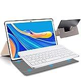 4g tablet 10.1 pollici , android 9.0 google gms certificatotablet pc, 4gb ram+64gb rom, type-c 8000mah 8mp con tastiera quad core tablets dual sim bluetooth/ netflix/google play/wi-fi (oro)