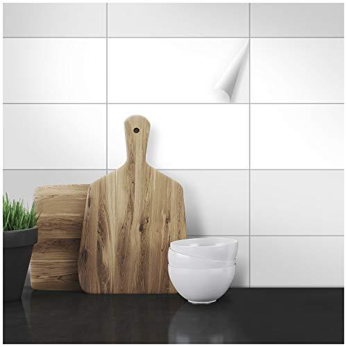 Wandkings Fliesenaufkleber - Wähle eine Farbe & Größe - Weiß Seidenmatt - 15 x 30 cm - 20 Stück für Fliesen in Küche, Bad & mehr