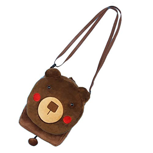 Elonglin Kinder Umhängetasche Geldbörse Schlüsselbeutel Kindertasche Schultertasche als Geschenk Cartoon Tier mini-15 * 3 * 19cm (L*B*H) Cartoon-Bär