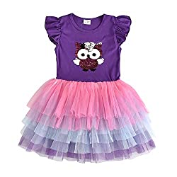 Purple Short Sleeve Tutu Dress with Colourful Ruffles Skirt