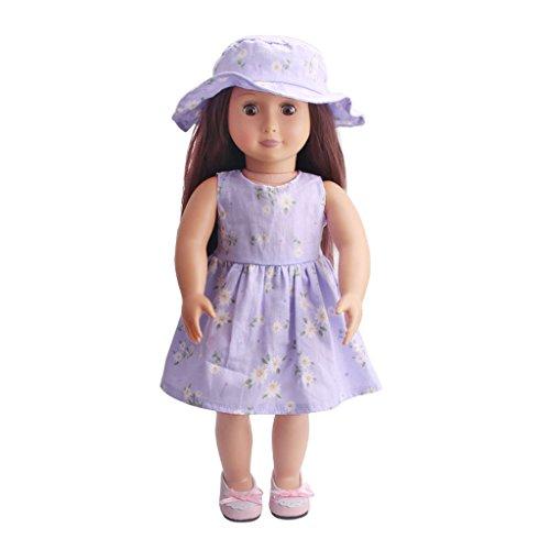Toygogo Per Bambola Americana 18 '' My Life Dolls Vestiti Elegante Abito Floreale Cappello Accessori per Abiti Viola