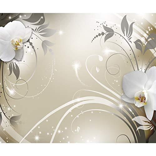 decomonkey Fototapete selbstklebend Abstrakt Orchidee 294x210 cm XL Selbstklebende Tapeten Wand Fototapeten Tapete Wandtapete klebend Klebefolie Blumen Muster orange grau