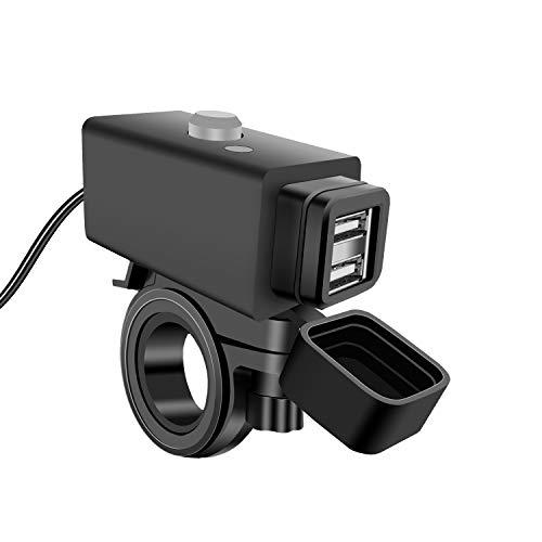 YGL Impermeabile Caricabatterie USB per Moto con Interruttore di Alimentazione 5 V Dual Ports