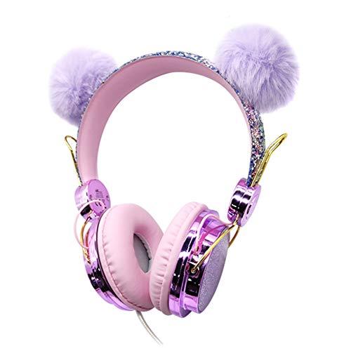 ZSooner Auriculares infantiles para niñas, niños, lindos con purpurina, para escuela, regalo de cumpleaños, música, micrófono integrado, con cable, diseño de dibujos animados (parche morado)