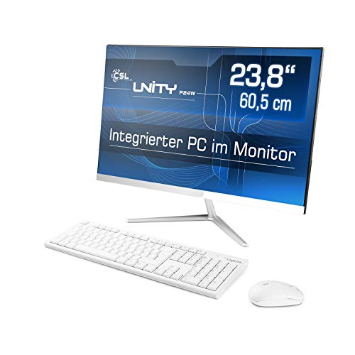 Lautloser All-in-One PC 60,5cm (23,8 Zoll) - CSL Unity F24W / 240GB / Win10 Home - Silent-PC mit Intel QuadCore CPU 4X 2300MHz, 240GB SSD, 4GB RAM, AC WLAN, USB 3.1