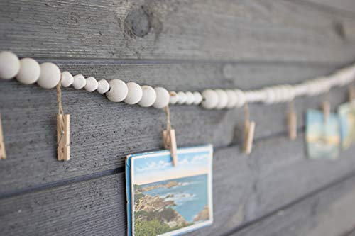 KALALOU Wood Bead Garland with Clothes Pin Photo/Card Holders, One Size, Off-White