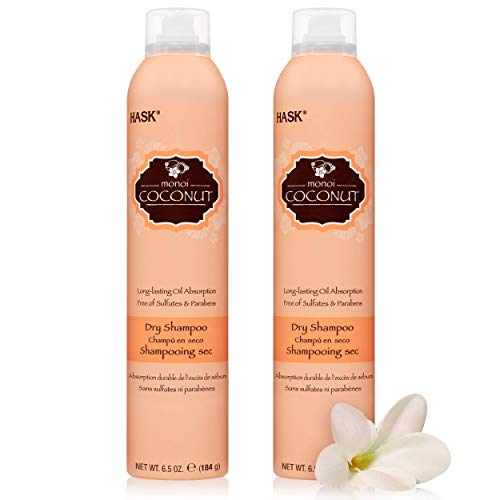 HASK Coconut Monoi Nourishing Dry Shampoo Kits for all hair types, aluminum free, no sulfates, parabens, phthalates, gluten or artificial colors (6.5oz-Qty2)