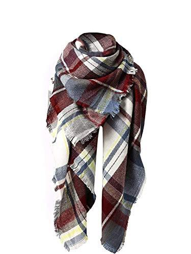 Yanekop Womens Big Blanket Scarf Soft Warm Tartan Plaid Scarf Shawl Fashion Wrap(Red Blue Mix)