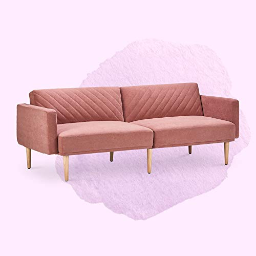 Sofa Bed for Living Room, Vktech Sofa Bed, Old Rosa Velvet, Split Back fold-Down backrest