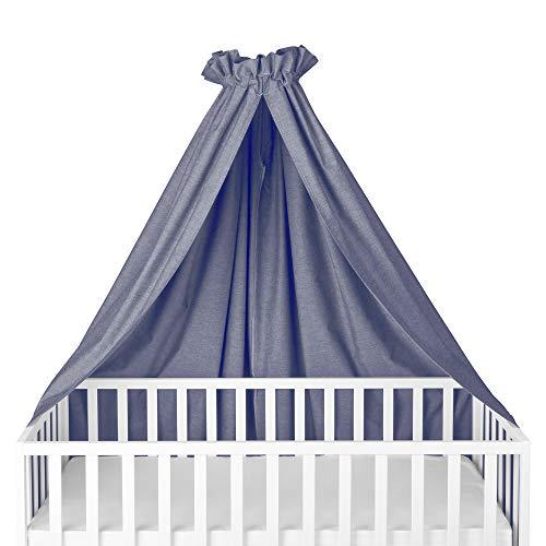 Sugarapple Himmel für Kinderbetten, Babybetten seitlich, quer verwendbar, Oxford dunkelblau, 100% Öko-Tex Baumwolle, 280x170 (BxH) cm