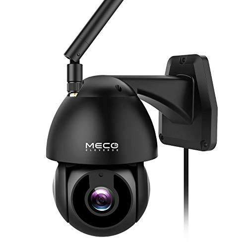MECO Cámara Vigilancia WiFi Exterior&Interior, 1080P HD Pan / Tilt Cámara de Seguridad Impermeable con Visión Noturna, Detección y Seguimiento Automático, Notificación de Alerta, Compatibl