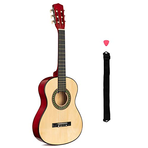 Kids Guitar, 1 2 Size Wooden Acoustic For Beginners, Strap, Pick, Age 5 To...